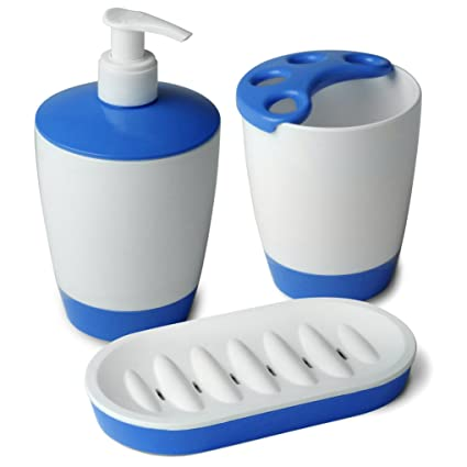 Tatay 6110312 Kristal Juego de jabonera, Vaso para Cepillo de Dientes, dispensador de jabón