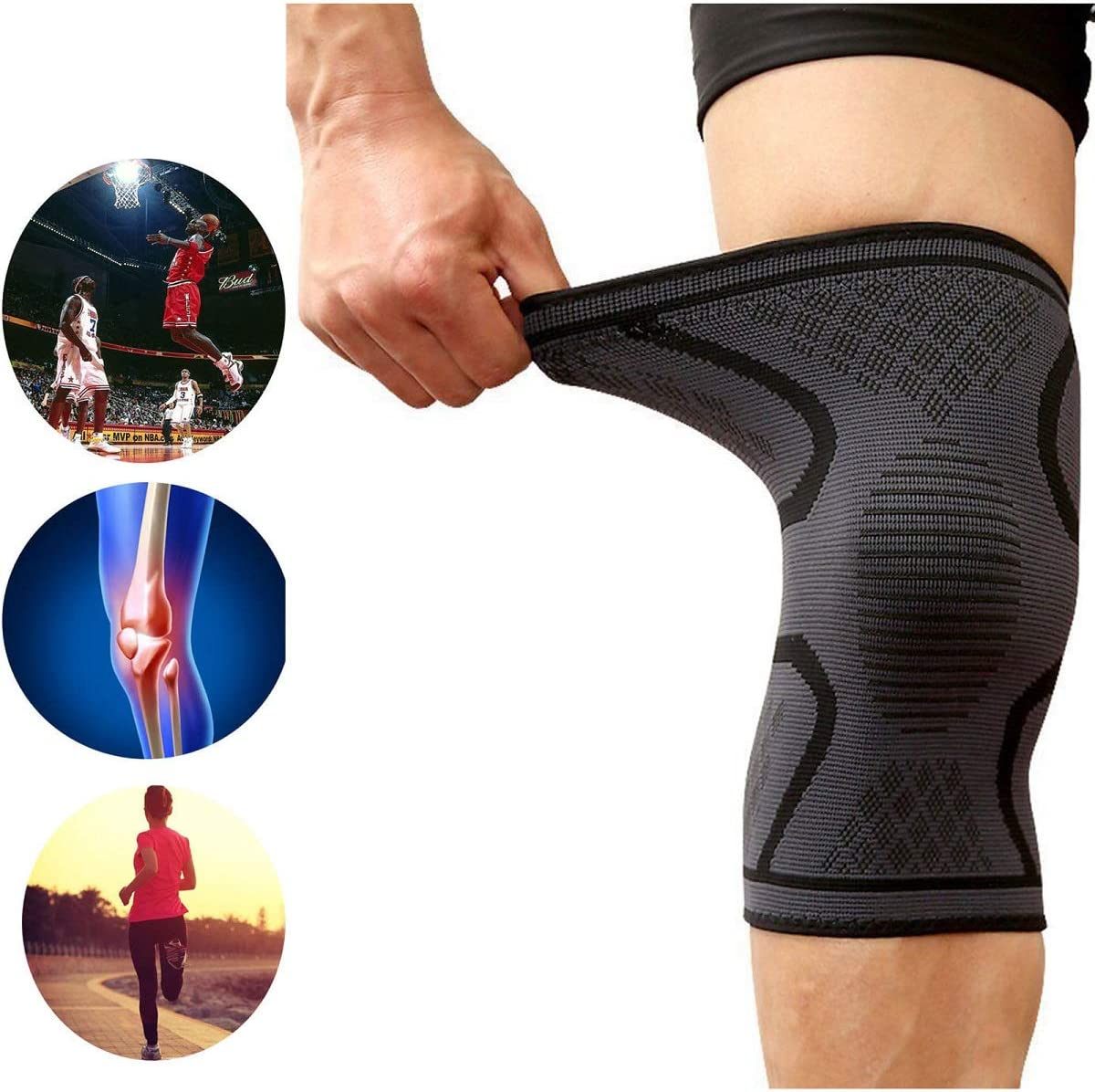 1 Pair Knee Compression Sleeve Support Professional Protective Sports Elastic Knee Pads for Basketball Tennis Cycling Volleyball Football Knee Brace Green M
