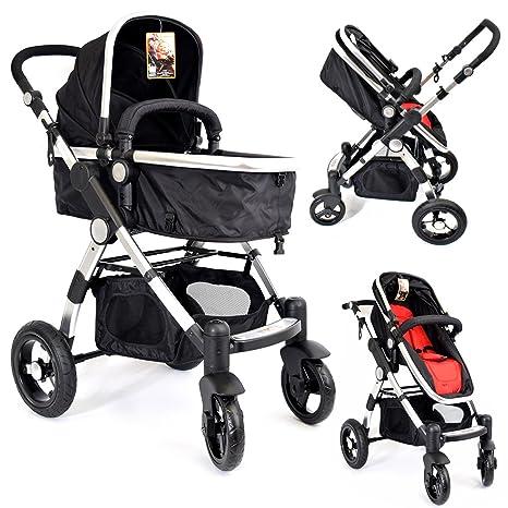 kiw01) 3 in1 cochecito Negro Rojo cochecito Buggy Baby ...