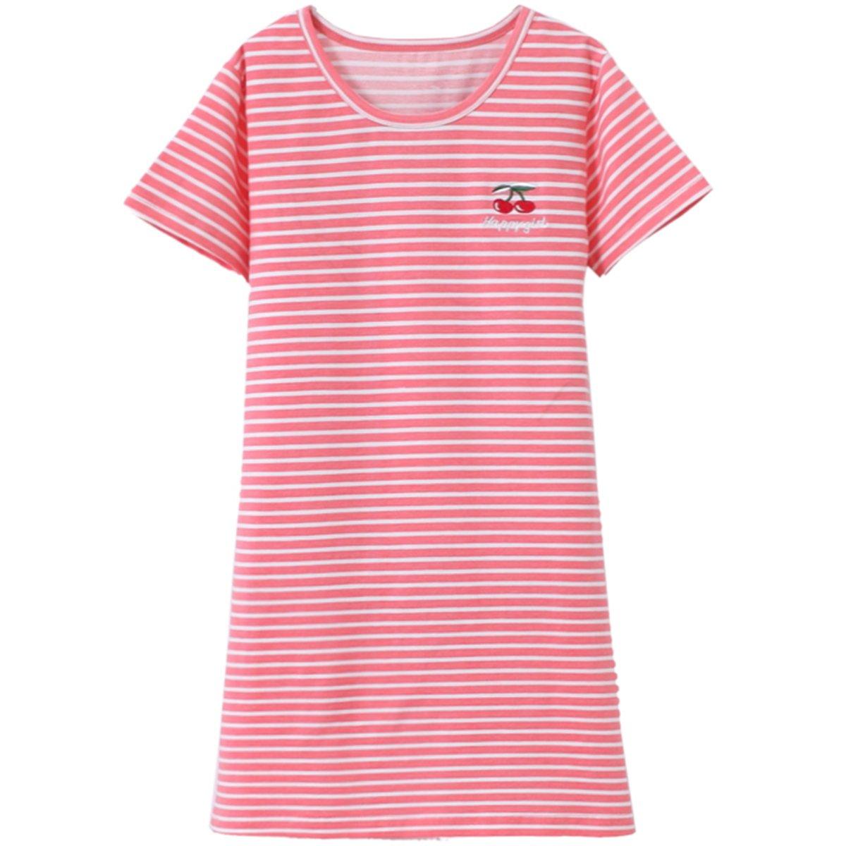 JAJADO Girls Stripes Nightgowns Sleep Shirts Cotton Sleepwear Pajamas for Toddler Pink Stripes 3-4 Year