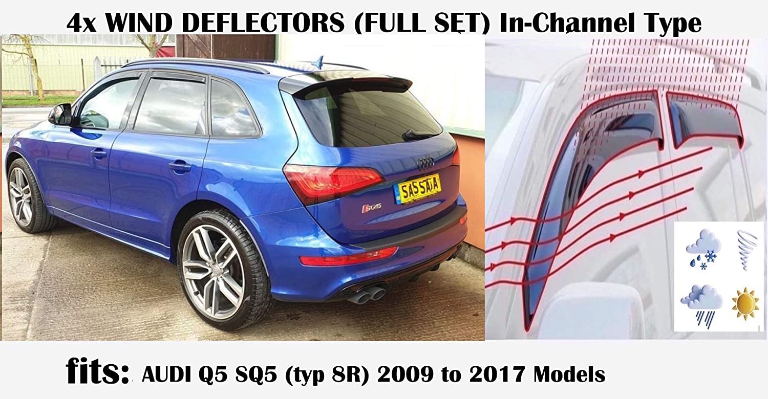 OEMM Set Of 4 Wind Deflectors IN-CHANNEL Type Compatible with AUDI Q5 SQ5 8R QUATTRO SUV 2009 2010 2011 2012 2013 2014 2015 2016 2017 Acrylic Glass Side Visors Window Deflectors
