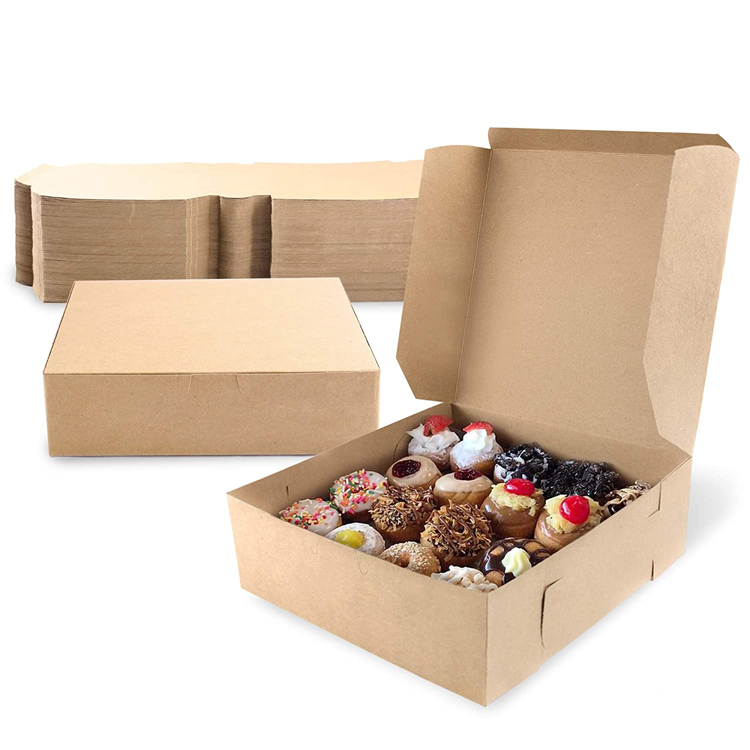 [25 Pack] Pastry Boxes - 9 x 9 x 3 Inches Brown Bakery Box for Cookies, Compostable Kraft Paper Cardboard for Baked Goods Packaging, Cake, Food Treat, Donut, Cupcake, Candy, Bread, Bridesmaid Gift Box