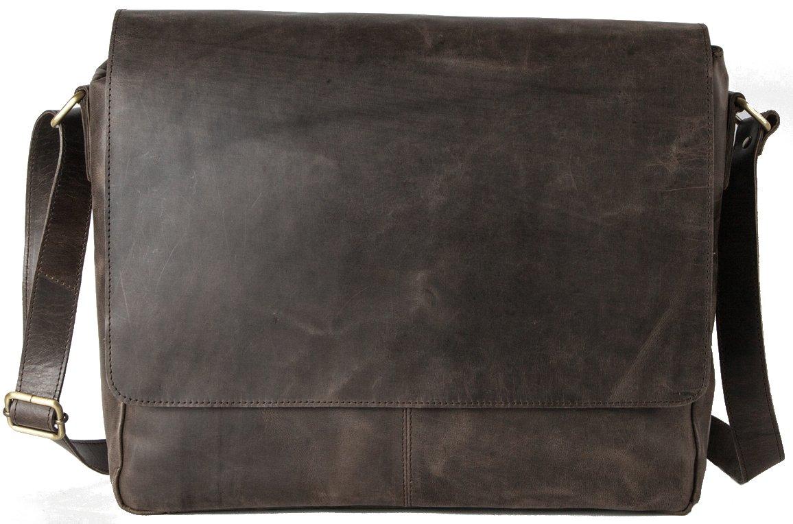 HOLZRICHTER Berlin - Premium Umhängetasche (M) aus Leder - Handgefertigte Messenger Bag im Vintage Design - Ledertasche für Herren und Damen - Camel-braun HR-SA-2-1