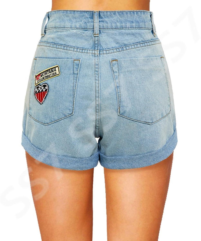 SS7 New Women's High Waisted Ripped Badge Shorts, Sizes 8 to 14:  Amazon.co.uk: Clothing