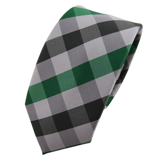 TigerTie - corbata estrecha - verde verde esmeralda plata gris ...