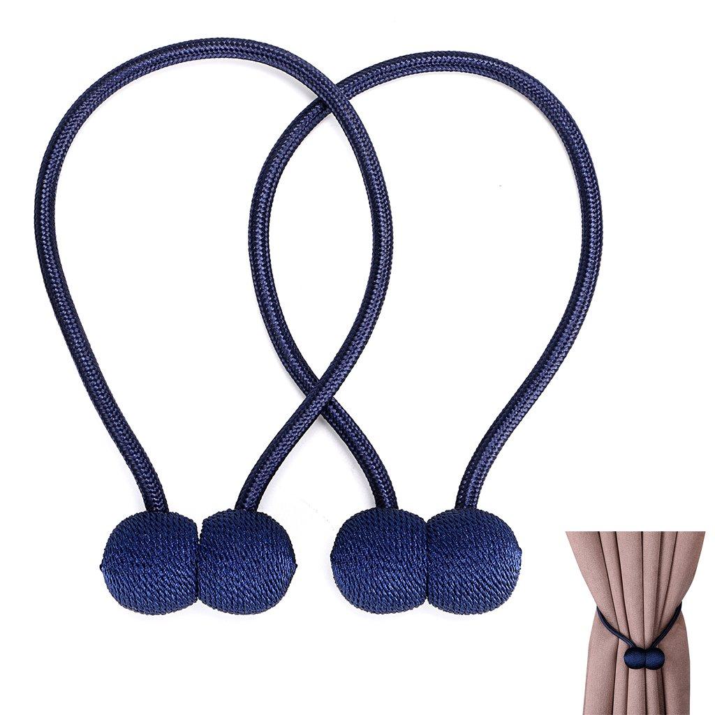 BTSKY Decorative Magnetic Curtain Tiebacks Rope - Window Treatment Hardware Curtain Holdbacks Drape Holder for Home Office, Set of 2 (Blue)