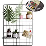 Grid Photo Wall, Pulatree Wire Wall Mesh Display Panel Decorative Iron Rack Clip Photograph Wall Hanging Picture wall, Ins Art Display PhotoWall 2 Packs 25.6 x17.7inch (Black)