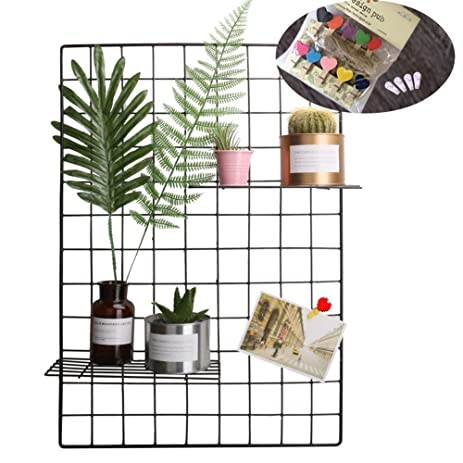 Amazon.com: Grid Photo Wall, Pulatree Wire Wall Mesh Display Panel ...