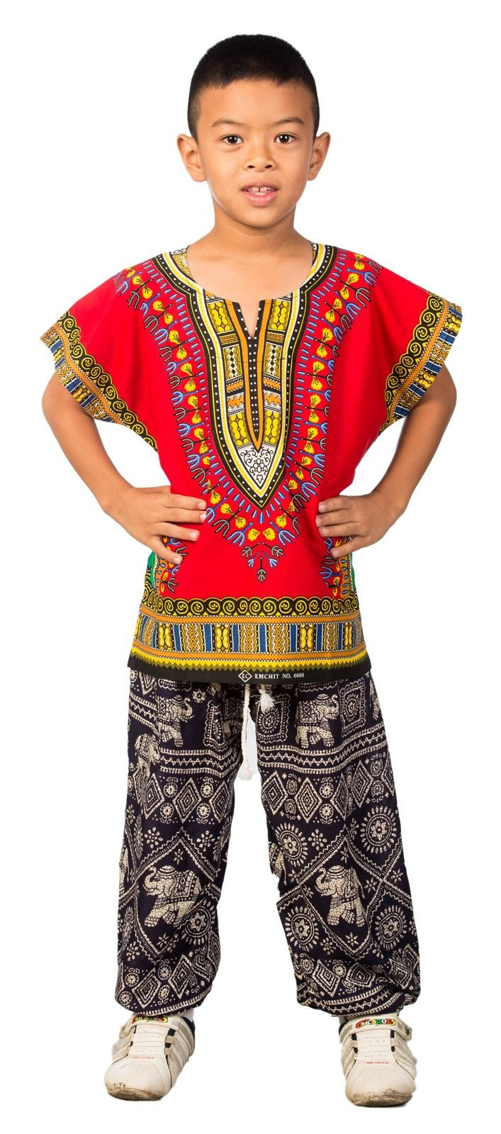 Lofbaz Unisex Child Traditional African Printed Dashiki One Size Red