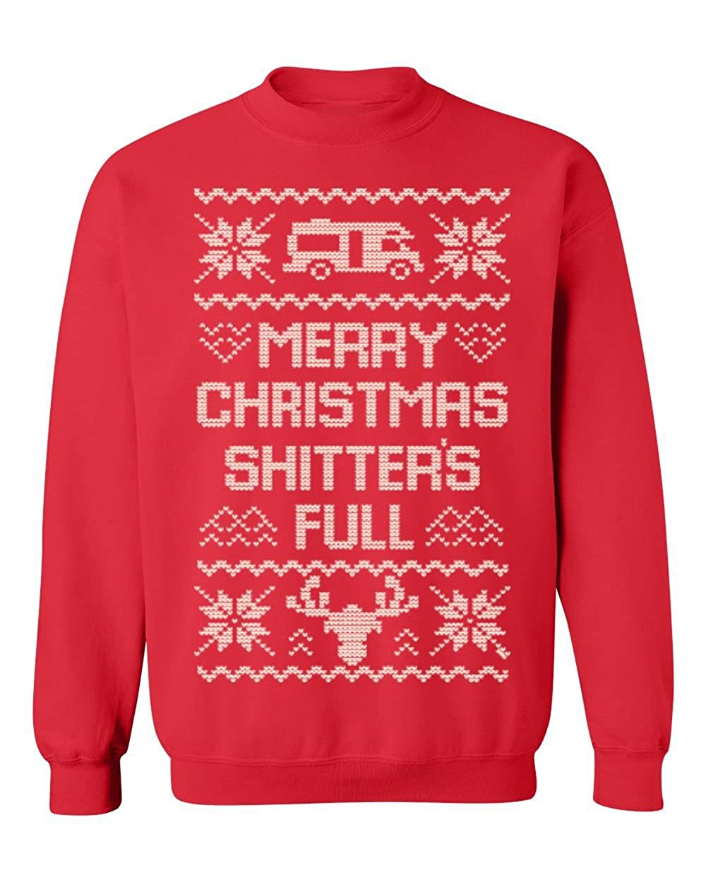 Promotion & Beyond Ugly Christmas Funny Xmas Gift Crewneck Sweatshirt (Red)