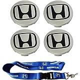 T'Nb New 1pcs Honda Keychain Lanyard Badge Holder + 4pcs Set 69mm Honda Center Hub Caps Wheel