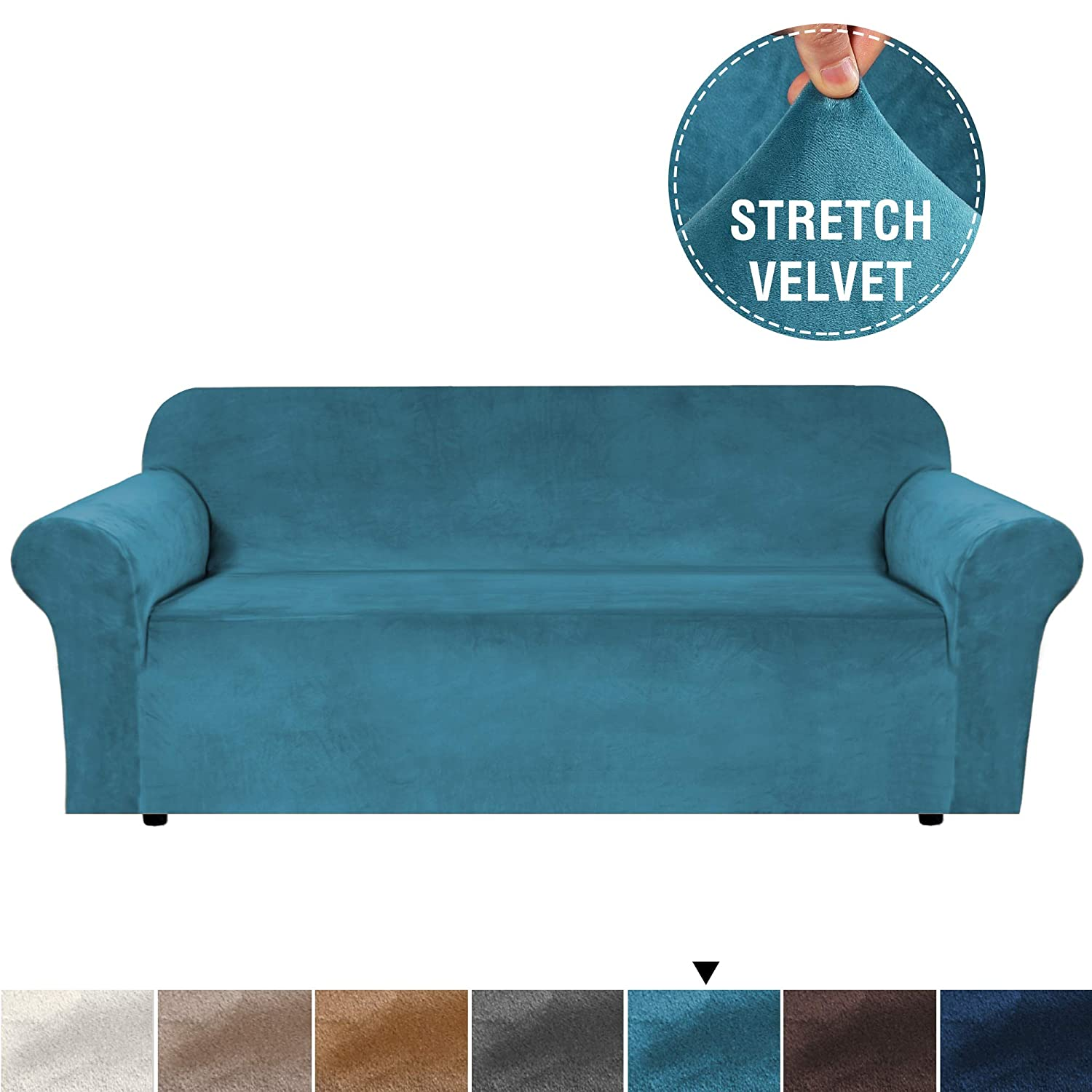 Luxurious Real Velvet High Stretch Sofa Cover/Slipcover Soft Spandex Slip Resistant Stylish Velvet Plush Furniture Cover Couch Covers Slip Covers Machine Wash, Sofa 3 Seater, Peacock Blue