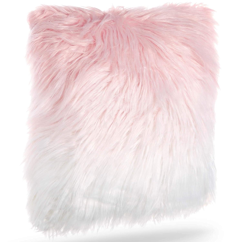 Beautify Pink Ombre Mongolian Faux Fur Cushion – Luxurious, Soft Touch, Faux Fur Finish – 18