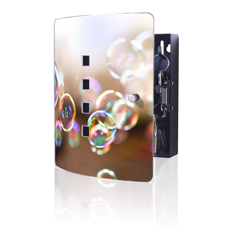 10 Haken f/ür Schl/üssel banjado Design Schl/üsselkasten aus Edelstahl praktischer Magnetverschluss 24x21,5cm Motiv Seifenblasen