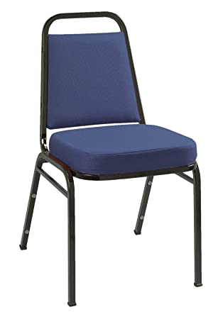 KFI Seating IM820 Armless Stacking Chair, Commercial Grade, 2-Inch, Blue Fabric Black Frame