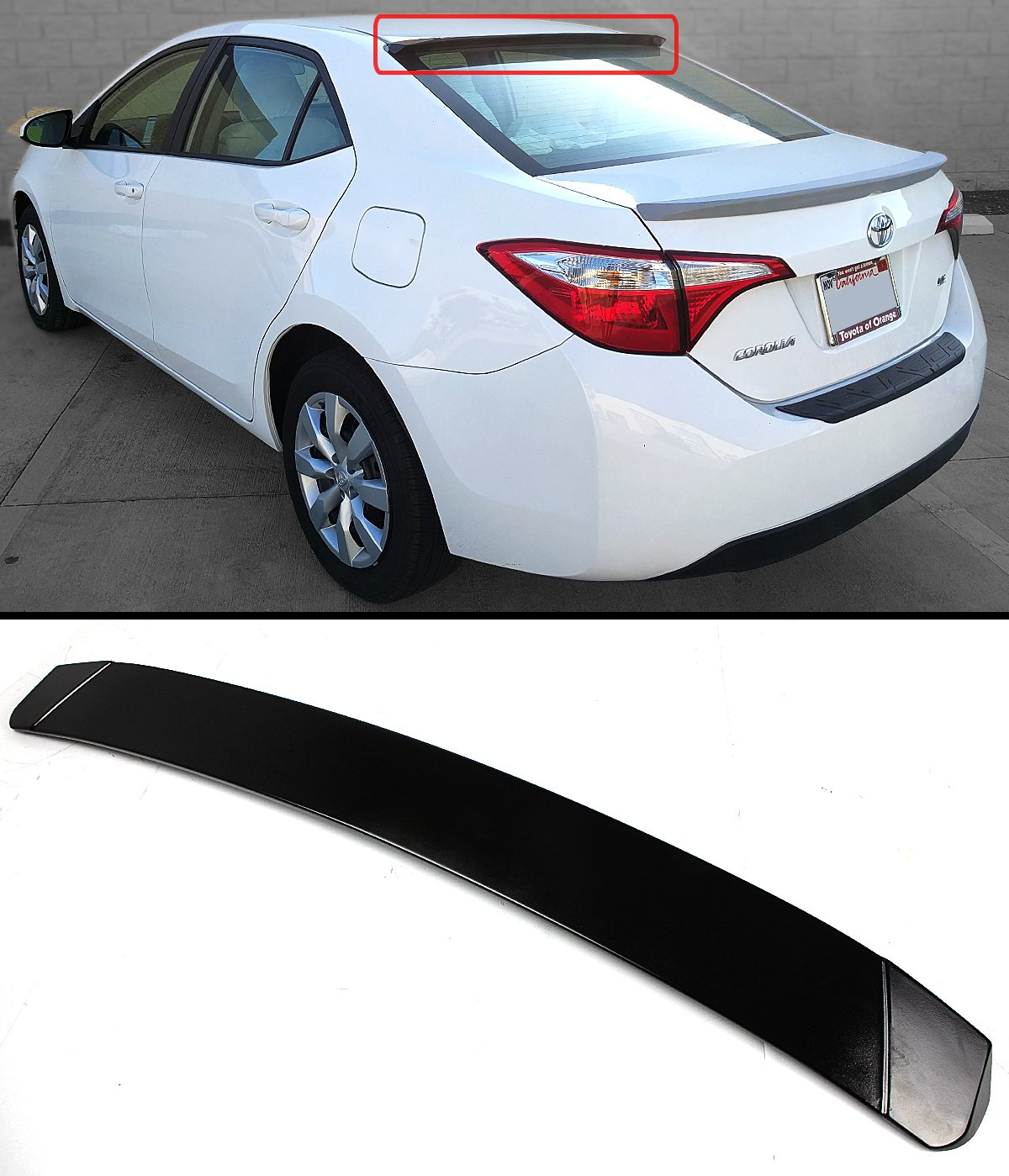 Cuztom Tuning JDM Sport Style Rear ROOF Window Spoiler Visor Wing for 2014-2018 Toyota Corolla
