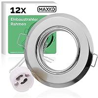 MAXKO Recessed Spotlight Frame with GU10 socket (12 PCs), swivelling for perfect, flexible lighting / recessed spotlights / ceiling spotlights, ceiling spotlights / wall spotlights / recessed luminaires / recessed lamp / recessed frame / recessed spotlights - with 2-year money-back guarantee
