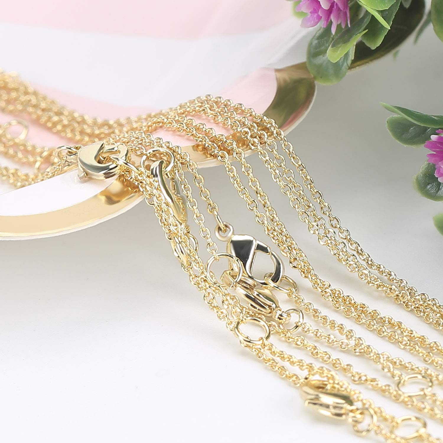 Wholesale 12 PCS 14K Real Gold Plated Solid Brass Thin O Chain Necklace 1 MM Finished Chain Bulk for Jewelry Making by SPUNKYCHARMS (Image #1)