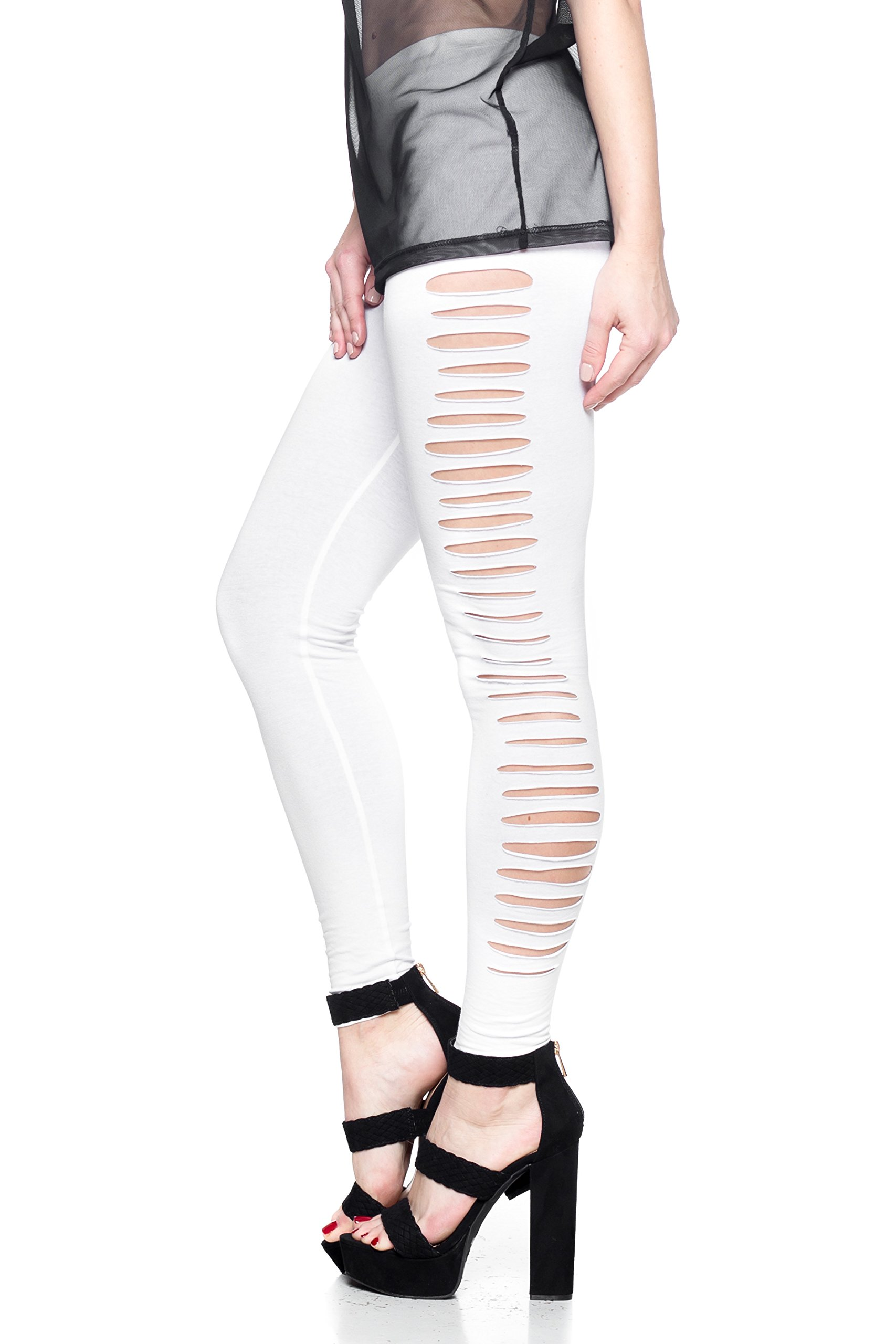 J2 LOVE Made in USA Women's Side Ripped Elastic Pull On Stretch Cotton Legging (up to 5X)