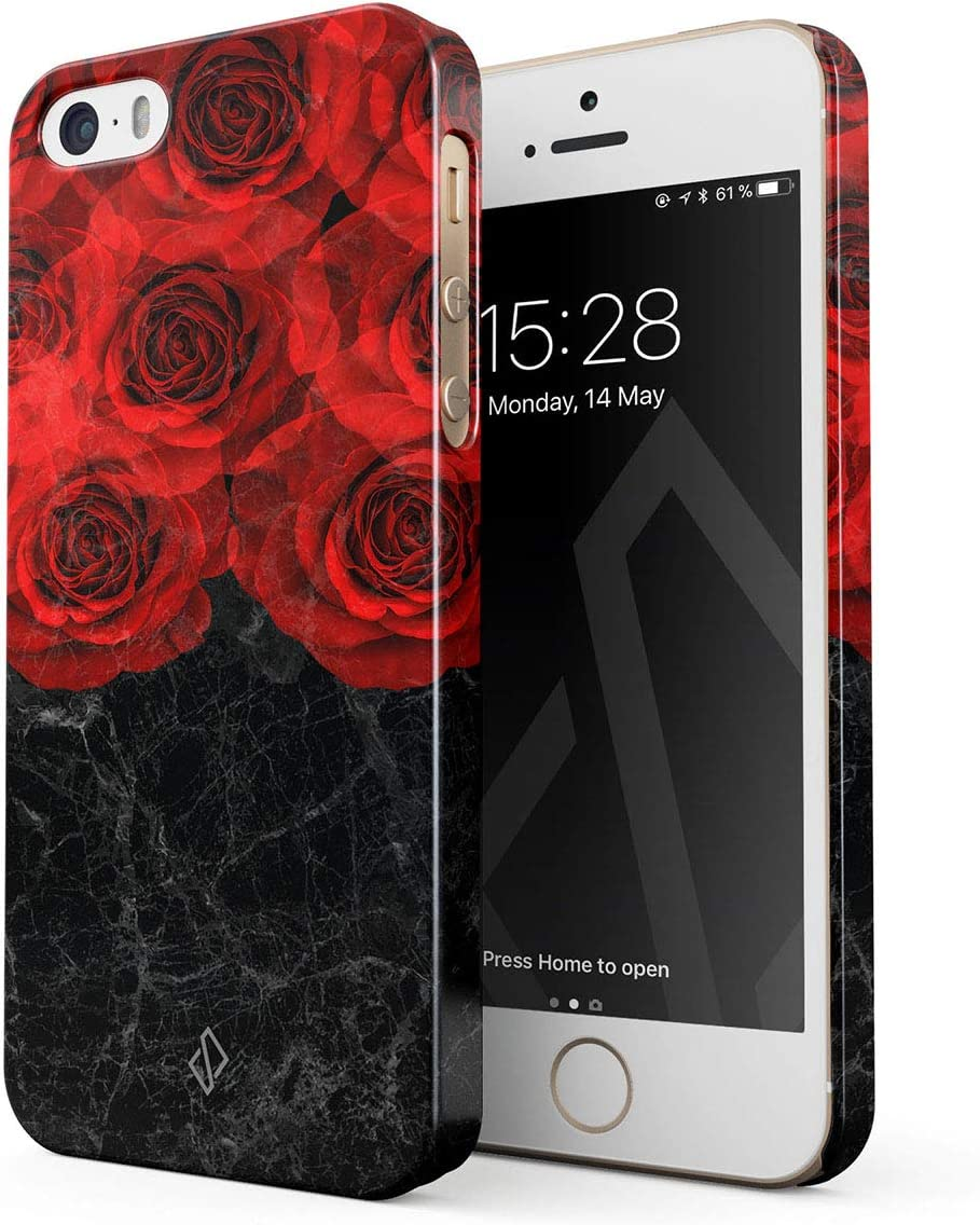 Amazon Com Burga Phone Case Compatible With Iphone 5 5s Se Dangerous Feeling Red Rose Black Marble Floral Fashion Designer Cute Case For Women Thin Design Durable Hard Plastic Protective Case