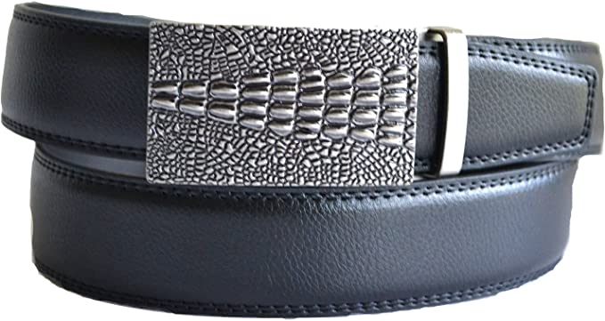 Men/'s automatic comfort ratchet click leather black casual dress Belt L XL