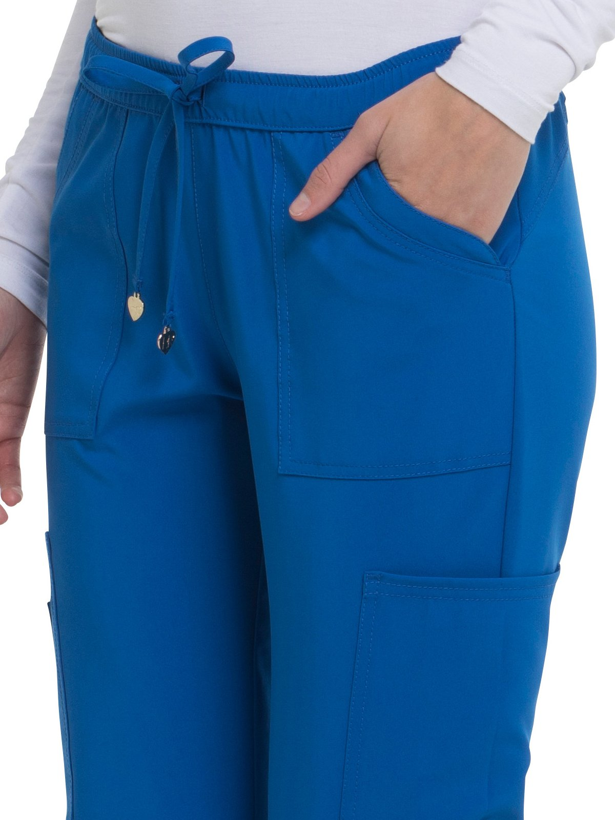 HeartSoul Love Always Women's Charmed Low Rise Drawstring Cargo Scrub Pant Small Royal by HeartSoul (Image #3)