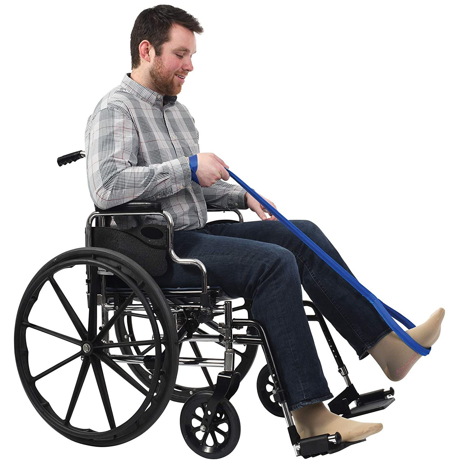 "Sammons Preston Rigid Leg Lifter, 41"" Leg Strap with Webbed Loops for Hand and Foot, Easy to Use Leg Lift Assist & Riser for Getting in & Out of Beds, Cars, Wheelchairs: Industrial & Scientific"