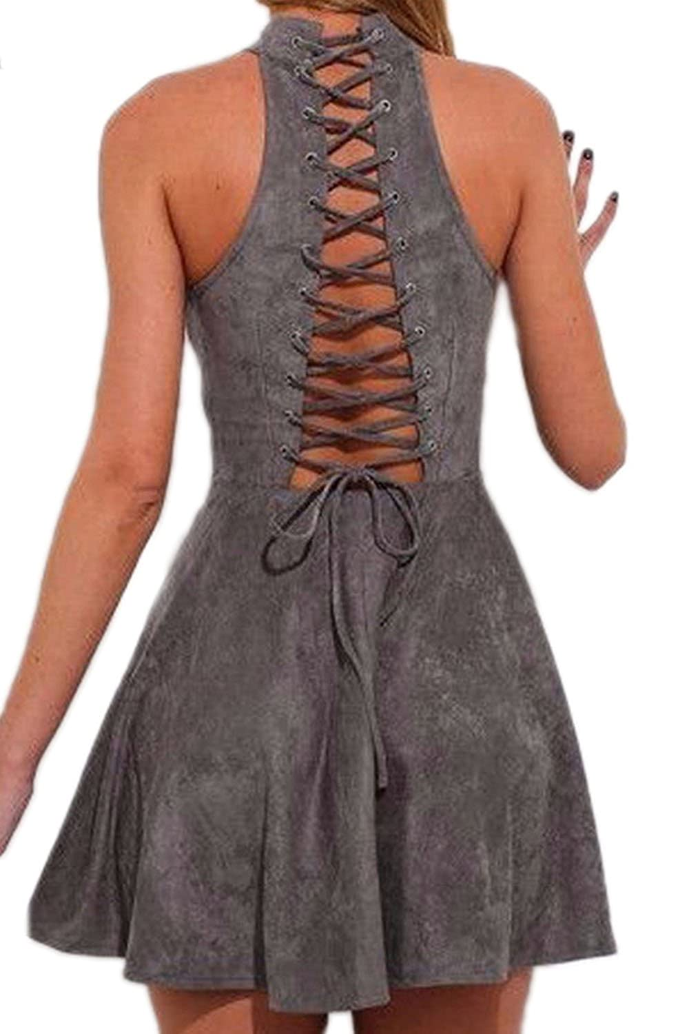 Zilcremo Women Hot Backless Back Lace Up Swing Club Party Cocktail Dress CAFZ023