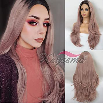 22 Inches Light Pink Mixed Black Long Curly Women Fashion Lace Front Wig