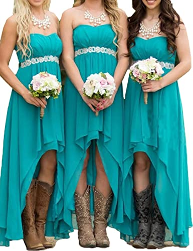Honey Qiao Teal Chiffon Bridesmaid Dresses Long HiLo Crystals Sash Formal Gowns