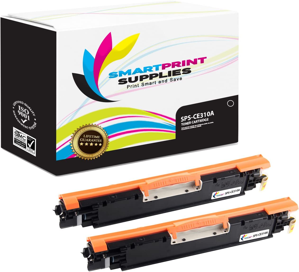 1,200 Pages Pro 100 MFP M175A Printers Smart Print Supplies Compatible 126A CE310A Black Toner Cartridge Replacement for HP Laserjet CP1020 CP1025 - 2 Pack
