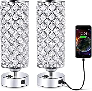 Crystal Table Desk Lamp with USB Port, Acaxin Elegant Bedside Light with Crystal Shade, Glam Lamps for Bedrooms, Decorative Lamp, Nightstand Lamp for Bedroom/Living Room/Dressing Room (Set of Two)