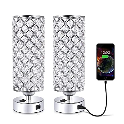 Amazon.com: Lámpara de mesa de cristal USB, 60.0watts ...