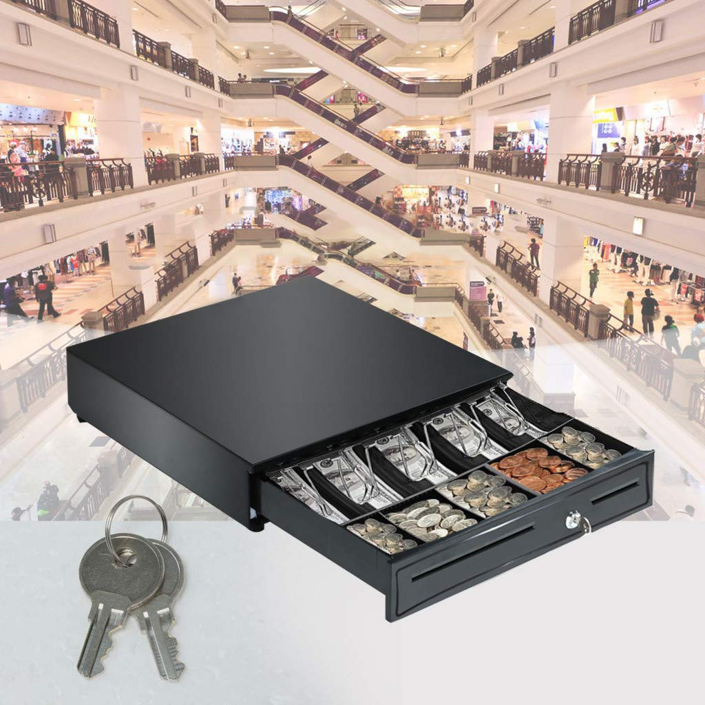 Luonita Cash Register Drawer Tray with 5 Bill 5 Coin,Money Storage Box Tray with Lock Compatible with Epson POS Printers,Perfect for Point of Sale Small Business,US Shipping Black