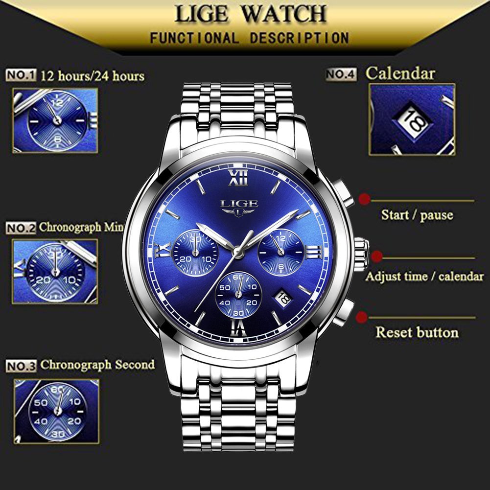 Men's Watches,Stainless Steel Band Waterproof Quartz Watch, LIGE Luxury Business Analog Chronograph Date Wrist Watch by LIGE (Image #6)