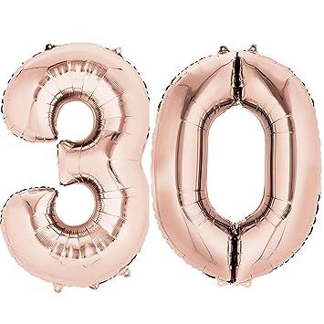 Ouinne Globo 30 Años, 40 Pulgadas Globo del Cumpleaños Número 30 Helio Globos para La Decoración Boda Aniversario (Oro Rosa)