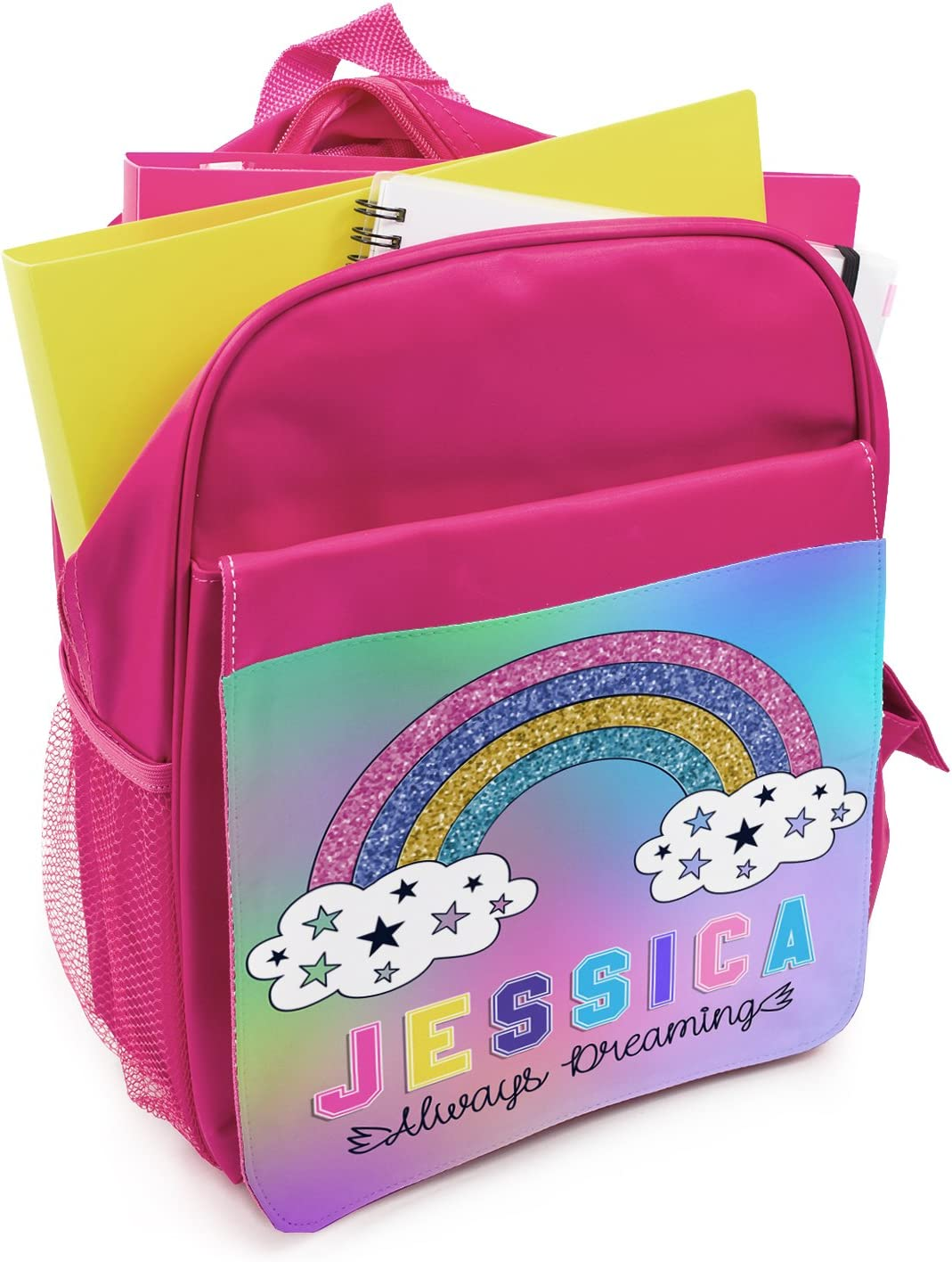 Personalised Girls Backpack RAINBOW Holographic Shiny Silver School Bag KS125