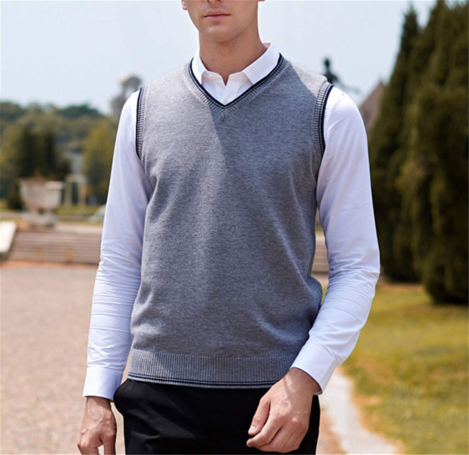 Classic V-Neck Collar Male Sweater Vest Knitwear Silm Fit Casual Pullover Vests for Men