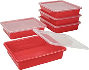 Storex Flat Storage Tray with Lid, Letter Size, 10 x 13 x 3 Inches, Red, 5-Pack (62537U05C)
