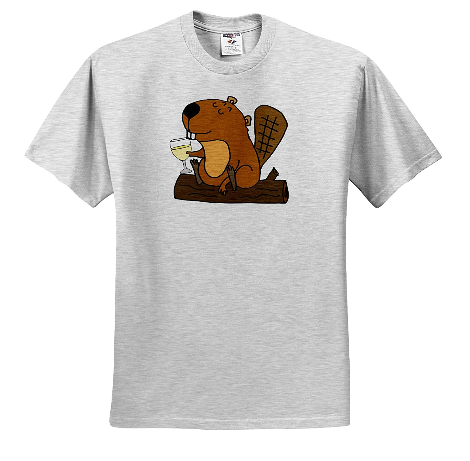 3dRose All Smiles Art Cool Funny Beaver Drinking White Wine Cartoon Adult T-Shirt XL Animals ts/_309113