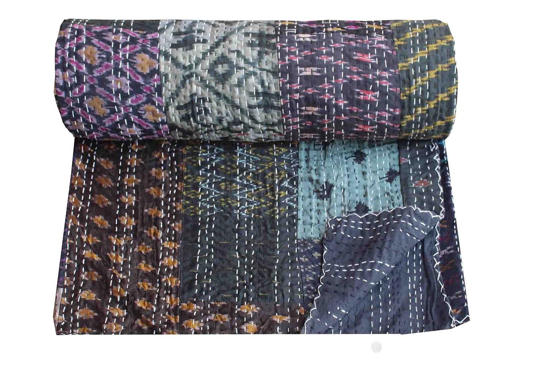 Twin / Queen Size Patola Silk Patch Work Kantha Quilt , Kantha Blanket Bedspread, Patch Kantha Throw, Twin Kantha, Kantha Rallies Indian Sari Quilt, Size 60 X 90 Twin / 90 X 108 Queen (Queen 90 X 108)