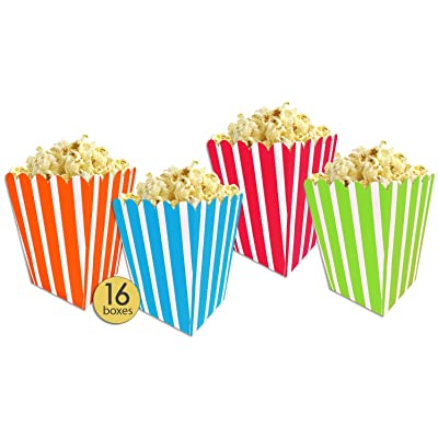 AoneFun Set of 16 - Popcorn Boxes Colorful Multicolor Medium - Large - Striped Popcorn Boxes - Candy Containers - Favor Boxes - Carnival - Movie Night - Bulk Value Pack: Toys & Games