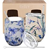 Stainless Steel Insulated Wine Tumbler - THILY Stemless Wine Glass with Sliding Lid and Straw, Cute Travel Cup Keep Coffee and Cocktails Cold, 2 Pack(Iridaceae+Orchid)