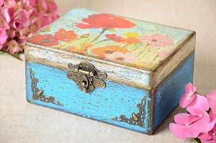 Funda Vintage de almacenamiento Caja de madera hecho a mano de decoupage, Present Idea