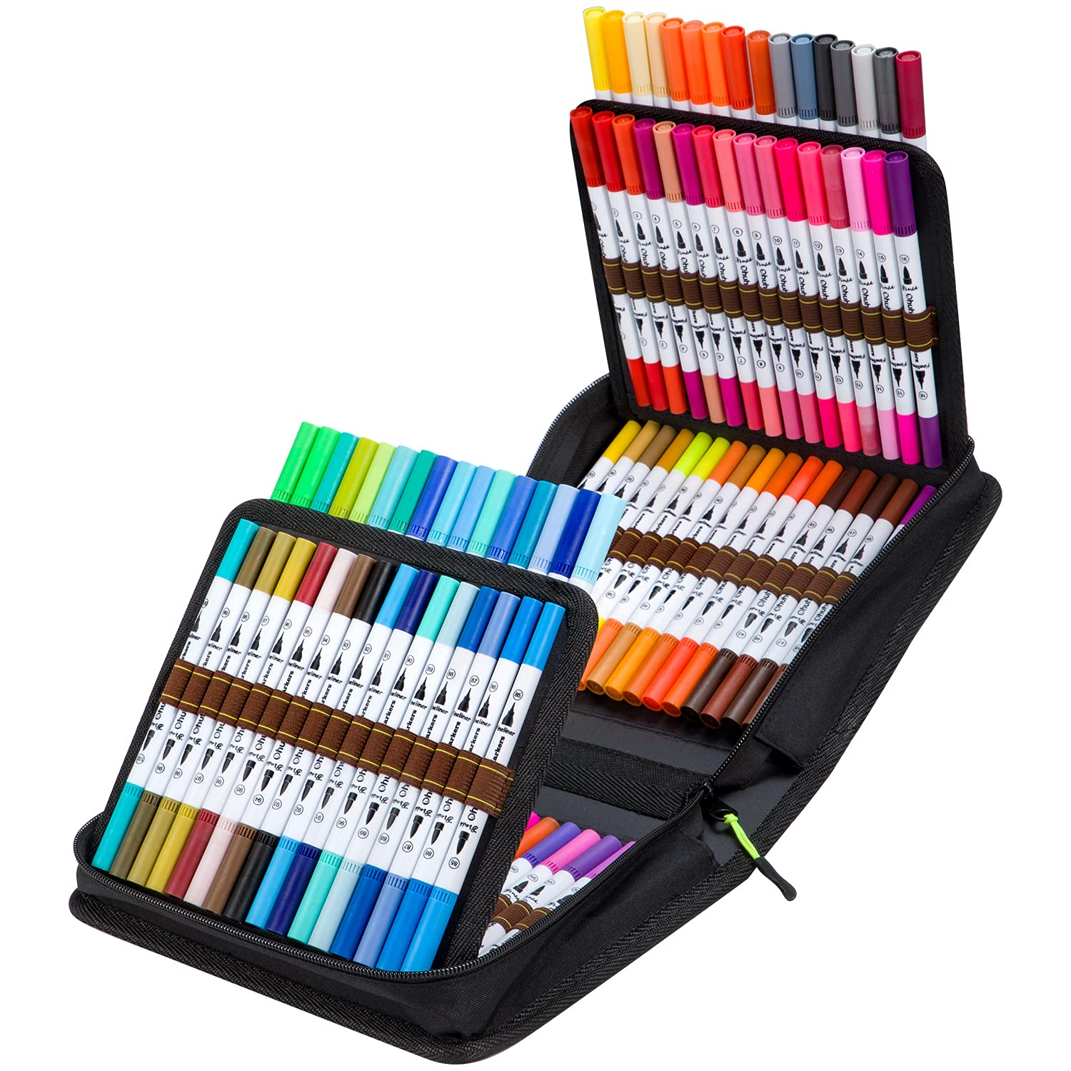 100 Colors Art Markers Set, Ohuhu Dual Tips Coloring Brush Fineliner Color Marker Pens, Water Based Marker for Calligraphy Drawing Sketching Coloring Bullet Journal Father's Day Gift