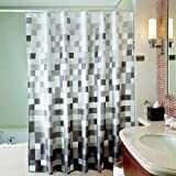 Uphome 72 X 78 Inch Fashion Grey Cube Pattern Ombre Bathroom Shower Curtain - White and Black Square Polyester Fabric Shower Curtain Waterproof Bathroom Shower Curtains Deasign