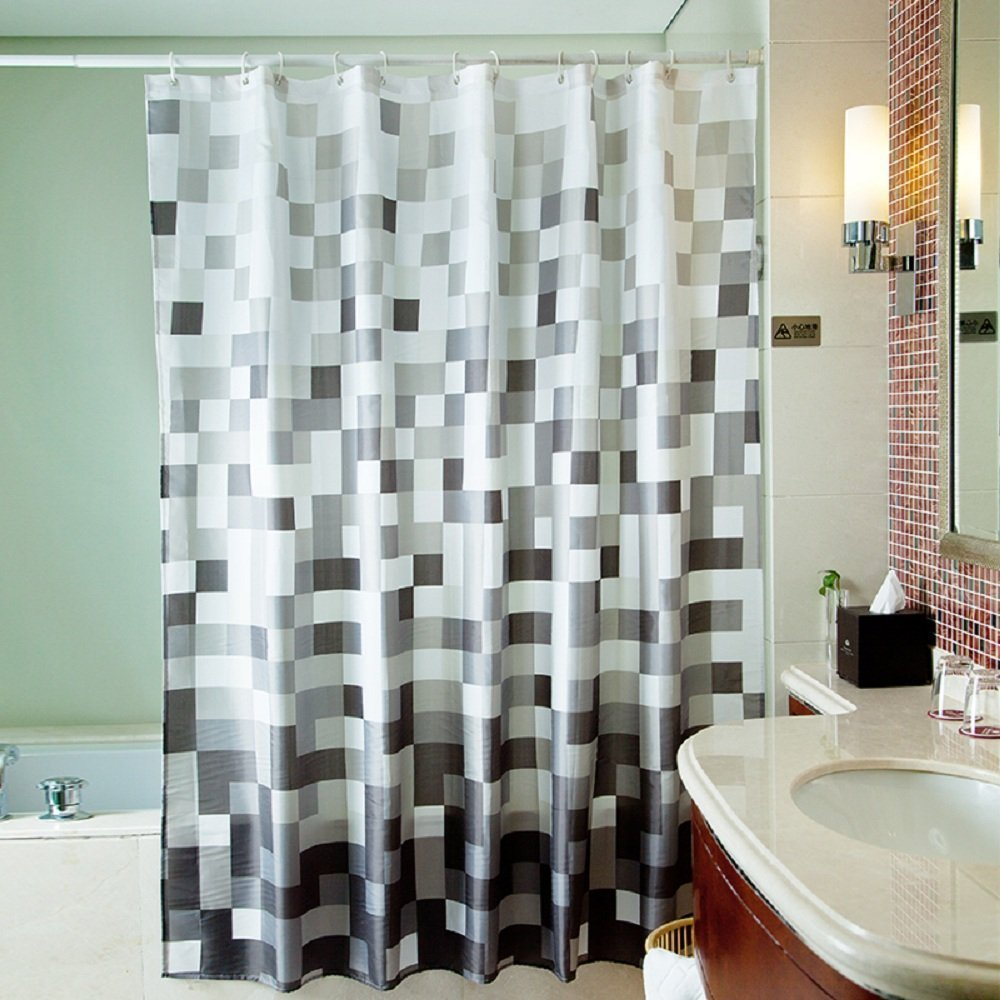 Amazon.com: Uphome 72 X 78 Inch Fashion Grey Cube Pattern Ombre Bathroom  Shower Curtain   White And Black Square Polyester Fabric Shower Curtain  Waterproof ...