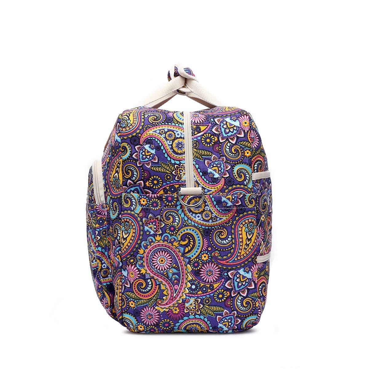 Malirona Women's Canvas Overnight Weekender Bag Carry On Travel Duffel Tote Bag Bohemian Flower (Purple Flower) by Malirona (Image #3)