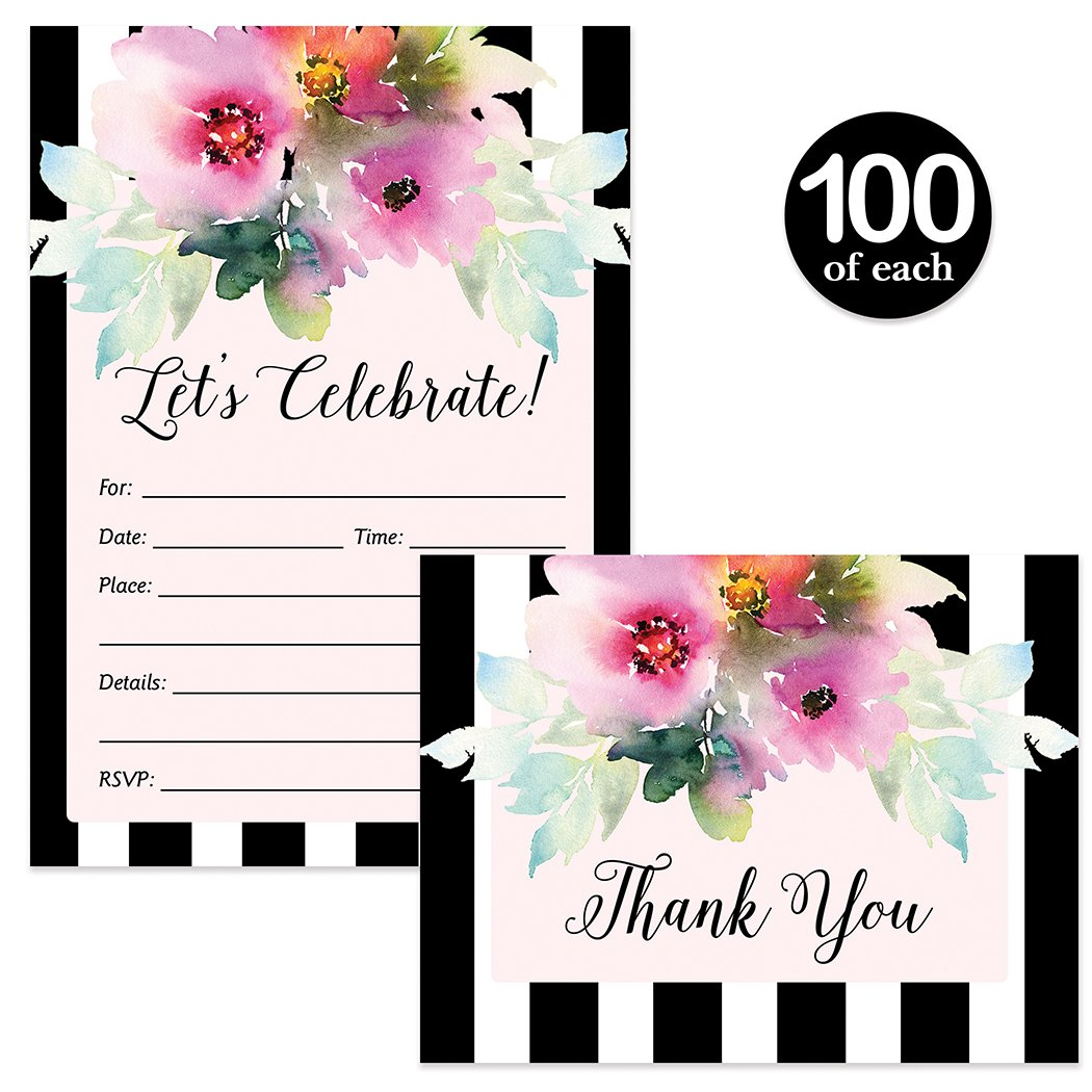 All Occasion Invitations & Matching Thank You Notes with Envelopes ( 100 of Each ) Watercolor Flower Blooms & Stripe Design Any Event Guest Invites & Gift Thank You Cards Best Value Combination Set