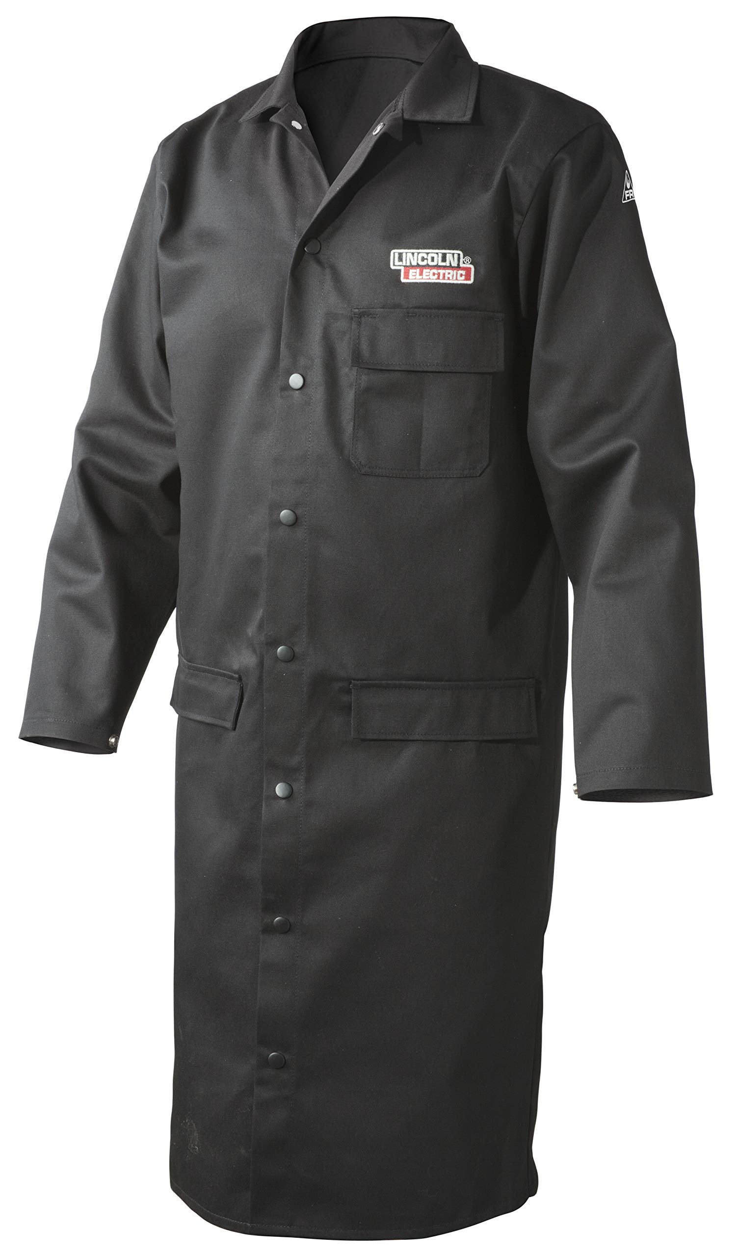 Lincoln Electric Welding Lab Coat | Premium Flame Resistant (FR) Cotton | 45'' Length | Black | Large | K3112-L by Lincoln Electric (Image #1)